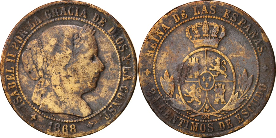 World Coins - Spain, Isabel II, 2-1/2 Centimos, 1868, , Copper, KM:634.2
