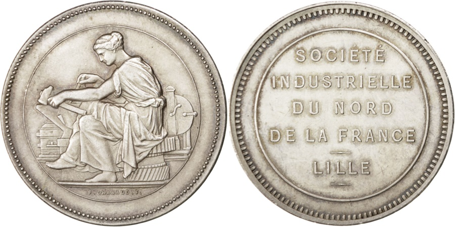 World Coins - FRANCE, Business & industry, Second French Empire, Medal, , Silver,...