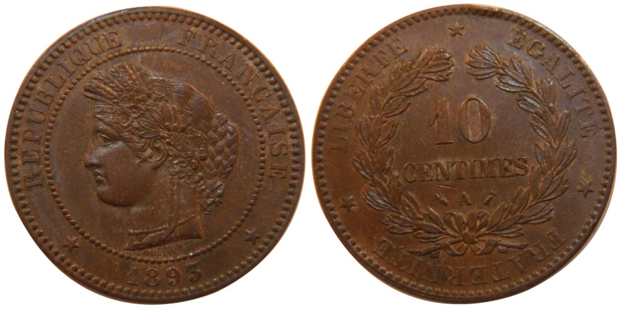World Coins - FRANCE, Cérès, 10 Centimes, 1893, Paris, KM #815.1, , Bronze, Gadoury #