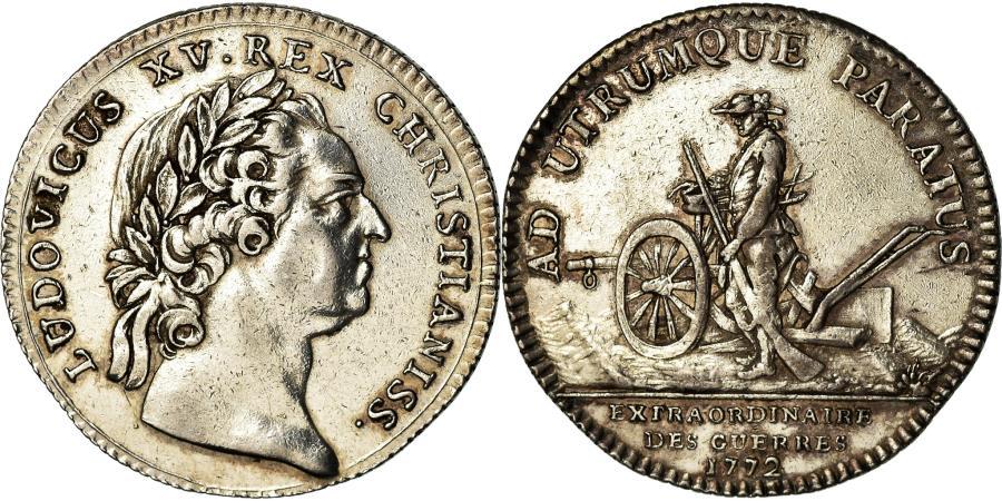 World Coins - France, Token, Louis XV, Extraordinaire des Guerres, History, 1772,
