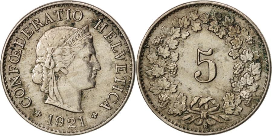 World Coins - Switzerland, 5 Rappen, 1921, Bern, , Copper-nickel, KM:26