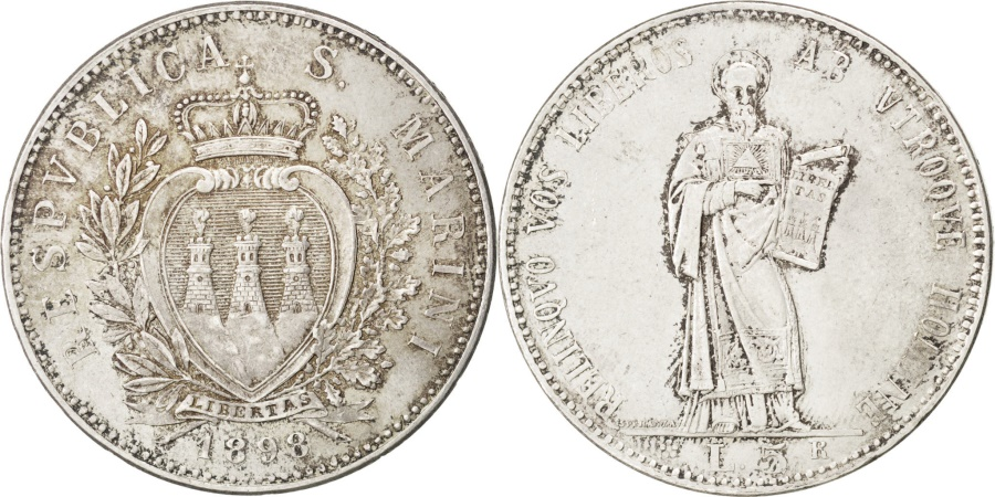 World Coins - SAN MARINO, 5 Lire, 1898, Rome, KM #6, , Silver, 25.35