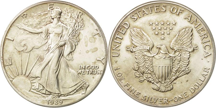 US Coins - United States, Dollar, 1989, Philadelphia, , Silver, KM:273