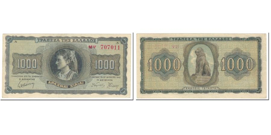 Banknote VF Greece 1942 1000 Drachmai