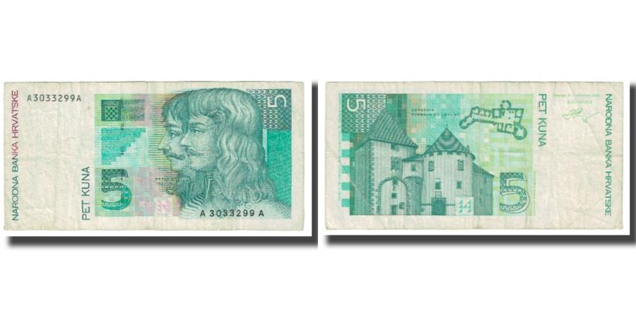 World Coins - Banknote, Croatia, 5 Kuna, 1993, 1993-10-31, KM:28a, EF(40-45)