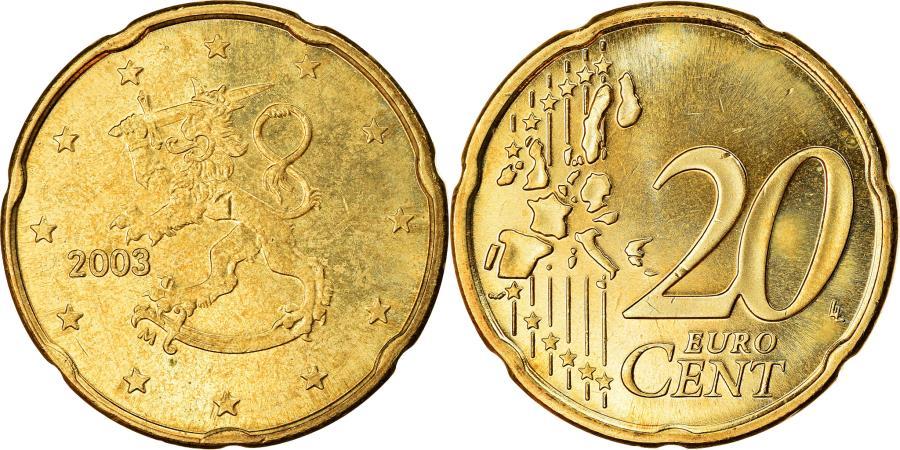 World Coins - Finland, 20 Euro Cent, 2003, , Brass, KM:102