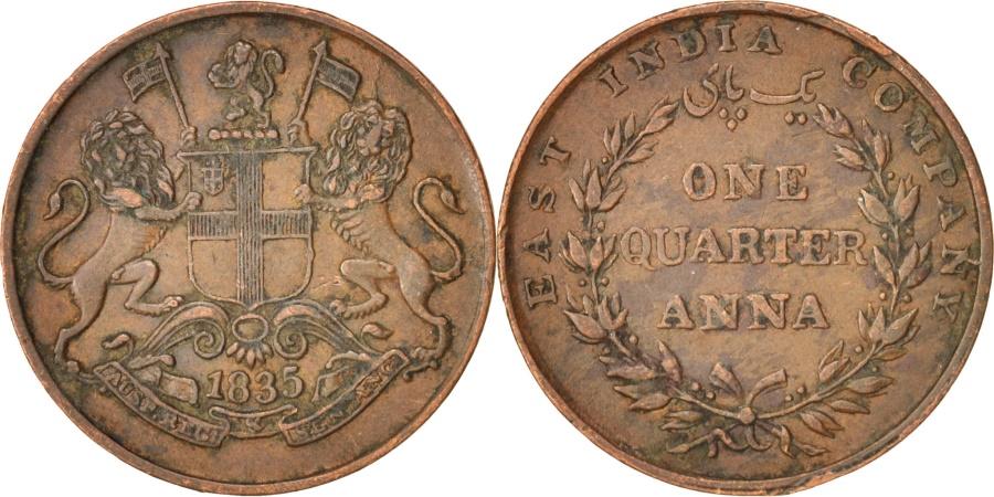 World Coins - INDIA-BRITISH, 1/4 Anna, 1835, , Copper, KM:446.2