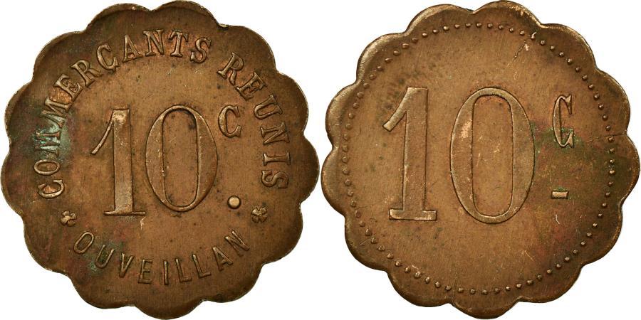 World Coins - Coin, France, Commerçants Réunis, Ouveillan, 10 Centimes, , Brass