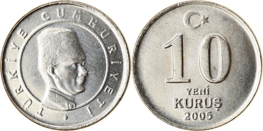 World Coins - Coin, Turkey, 10 New Kurus, 2005, Istanbul, , Copper-Nickel-Zinc