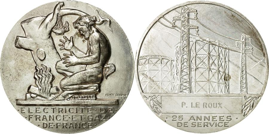 World Coins - France, Medal, Électricité de France et gaz de France, Dropsy,