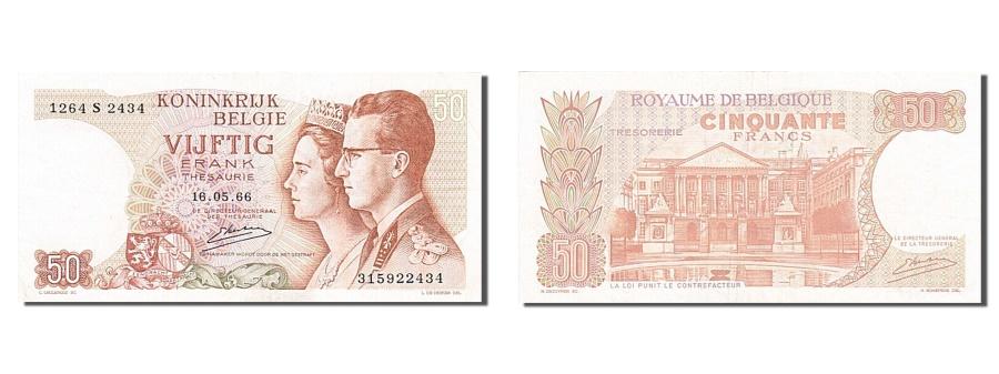 World Coins - Belgium, 50 Francs, 1966, KM #139, 1966-05-16, AU(50-53), 1264 S 2434