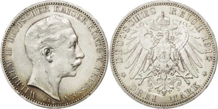 World Coins - German States, 3 Mark, 1912, Berlin, KM #527, , Silver, 33, 16.63