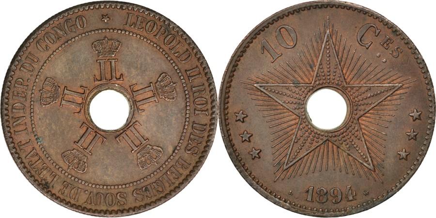 World Coins - CONGO FREE STATE, 10 Centimes, 1894, KM #4, , Copper, 35, 20.61