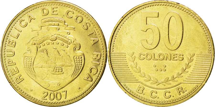World Coins - COSTA RICA, 50 Colones, 2007, KM #231.1b, , Brass Plated Steel, 27.5, 7.88
