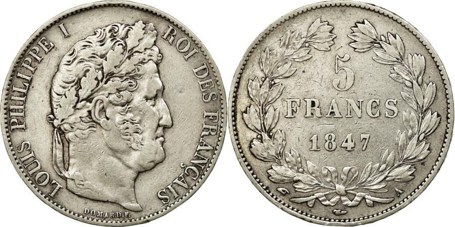 World Coins - Coin, France, Louis-Philippe, 5 Francs, 1847, Paris, EF(40-45), Silver