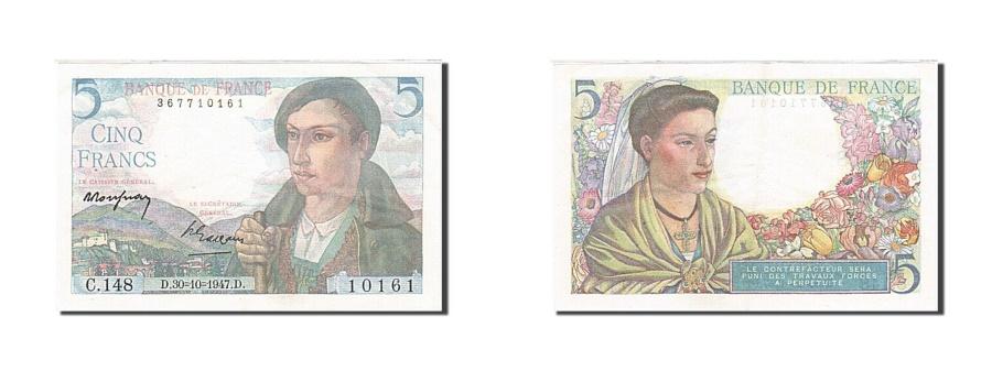 World Coins - France, 5 Francs, 1943, KM:98a, 1947-10-30, AU(55-58), Fayette:5.7