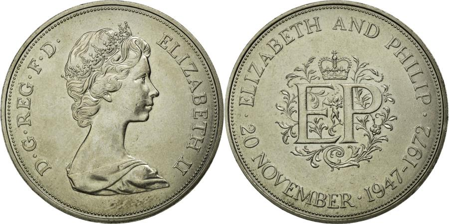 World Coins - Coin, Great Britain, Elizabeth II, 25 New Pence, 1972, AU(50-53), Copper-nickel