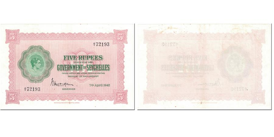 World Coins - Banknote, Seychelles, 5 Rupees, 1942, 1942-04-07, KM:8, AU(50-53)