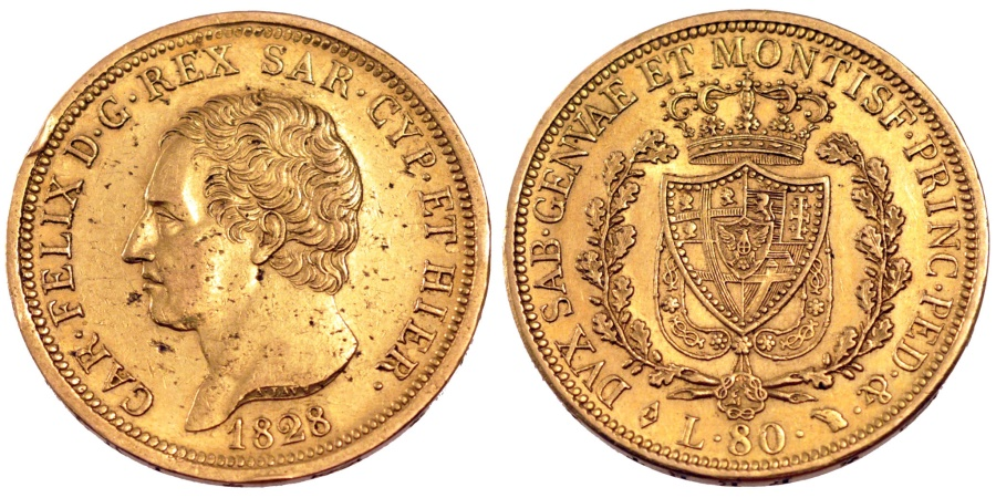 Italian states 80 lire 1828 torino km 123 1 au 55 58 for Coin torino