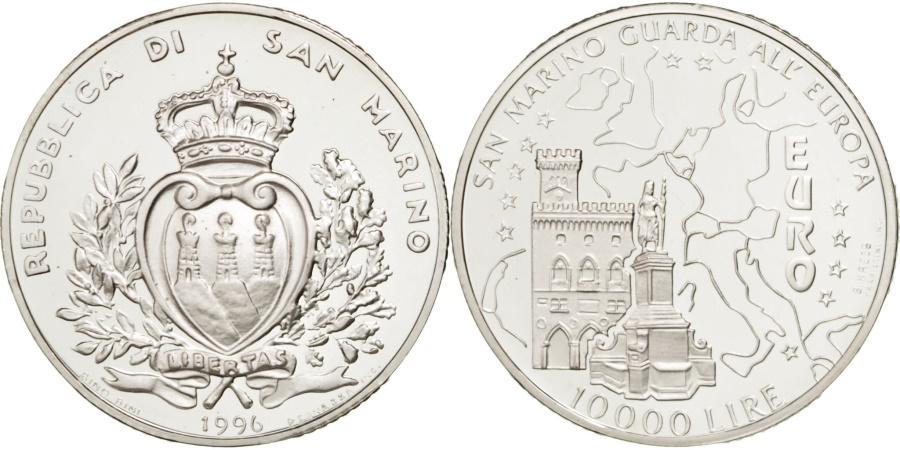 World Coins - SAN MARINO, 10000 Lire, 1996, KM #342, , Silver, 22.06
