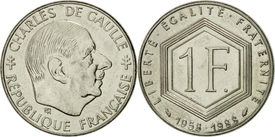 World Coins - Coin, France, Charles de Gaulle, Franc, 1988, Paris, , Nickel, KM:963