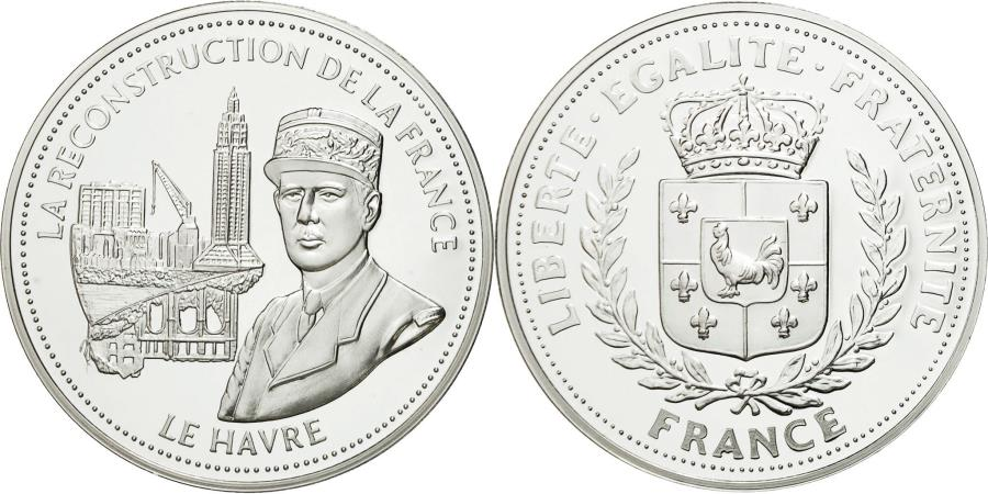 World Coins - France, Medal, De Gaulle, La Reconstruction de la France, , Copper