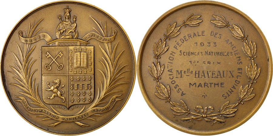 World Coins - FRANCE, Sciences & Technologies, French Third Republic, Medal, ,...