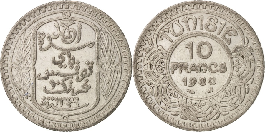 World Coins - Tunisia, Ahmad Pasha Bey, 10 Francs, 1930, Paris, , Silver, KM:255