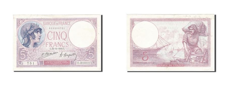 World Coins - France, 5 Francs, 1917, KM:72c, 1924-12-22, AU(50-53), Fayette:3.8
