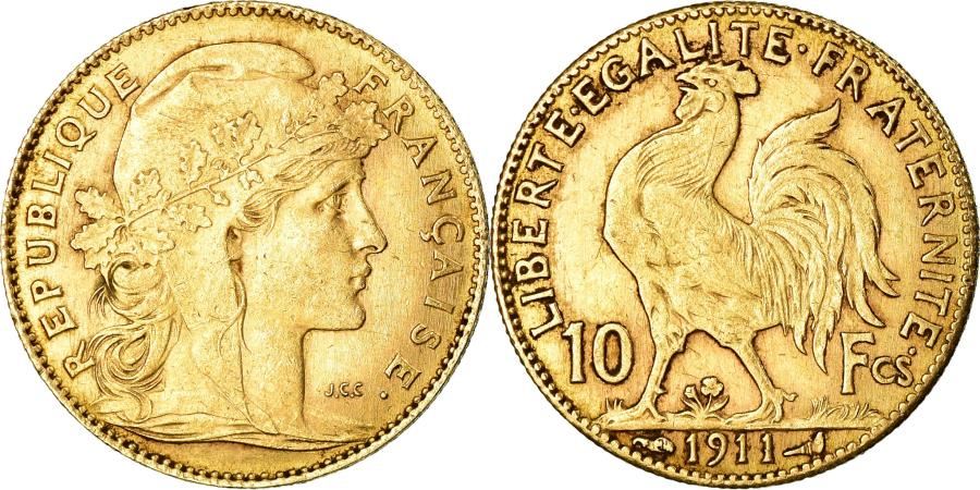 World Coins - Coin, France, Marianne, 10 Francs, 1911, Paris, , Gold, KM:846