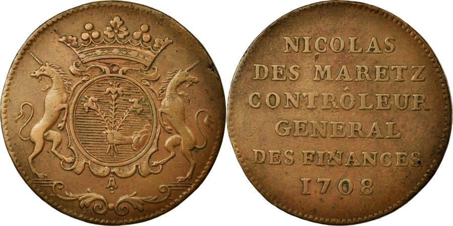 World Coins - France, Token, Royal, 1708, EF(40-45), Copper, Feuardent:5750