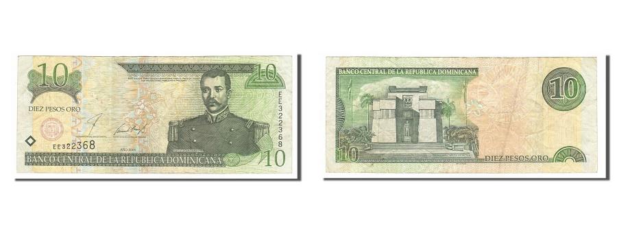 World Coins - Dominican Republic, 10 Pesos Oro, 2001, KM #165b, VF(30-35), EE322368