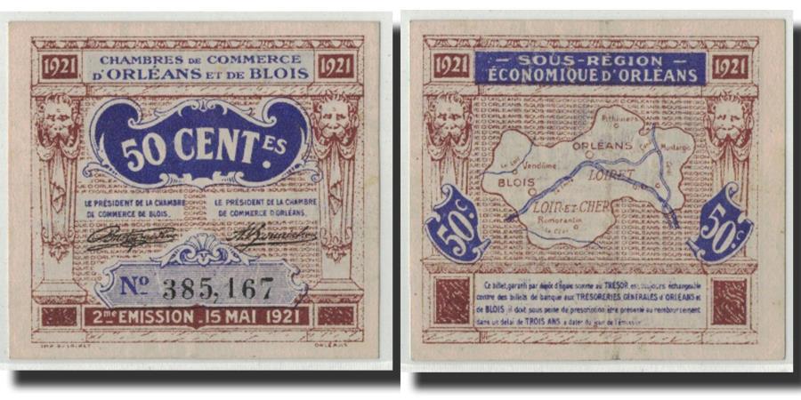 france orl ans et blois 50 centimes 1921 au 55 58 pirot 96 5. Black Bedroom Furniture Sets. Home Design Ideas