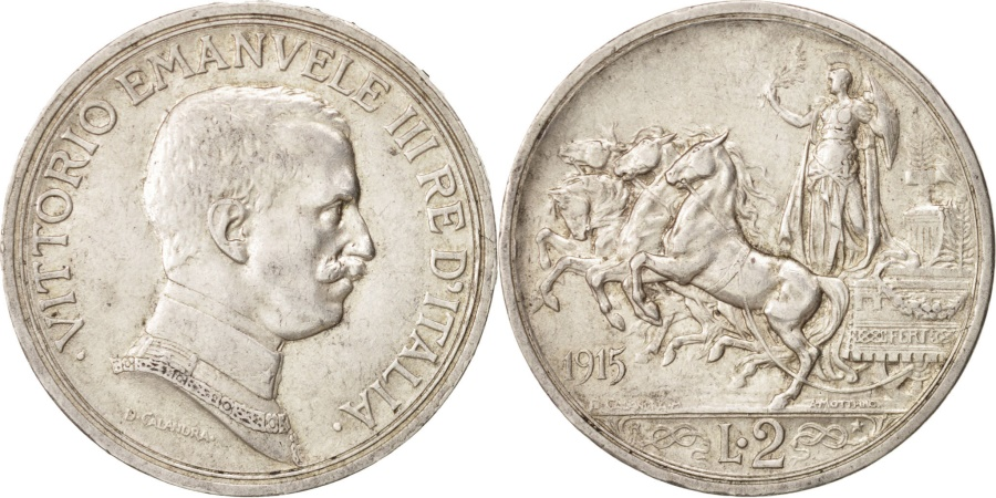 World Coins - Italy, Vittorio Emanuele III, 2 Lire, 1915, Rome, , Silver, KM:55