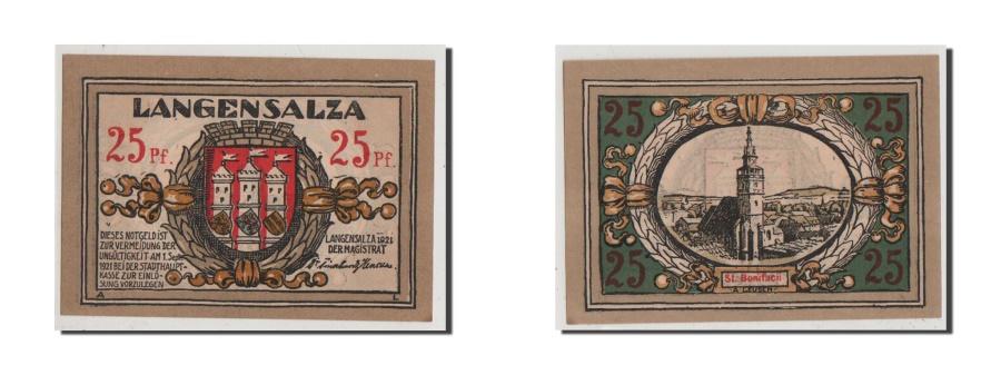 World Coins - Germany, Langensalza Stadt, 25 Pfennig, 1921, UNC(65-70), Mehl #770.1