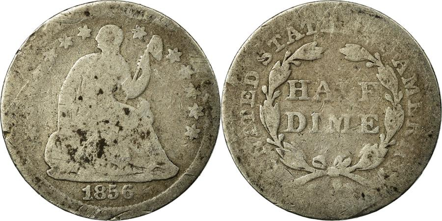 US Coins - Coin, United States, Seated Liberty Half Dime, Half Dime, 1856, Philadelphia