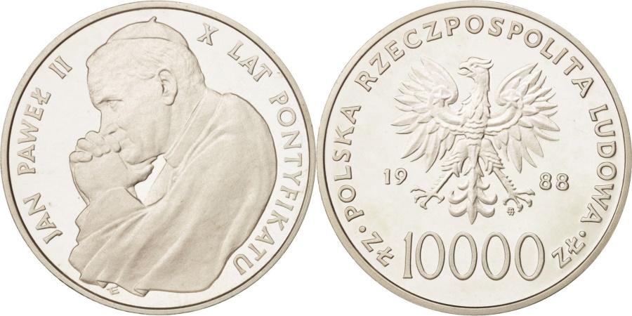 World Coins - Poland, 10000 Zlotych, 1988, Warsaw, , Silver, KM:177a