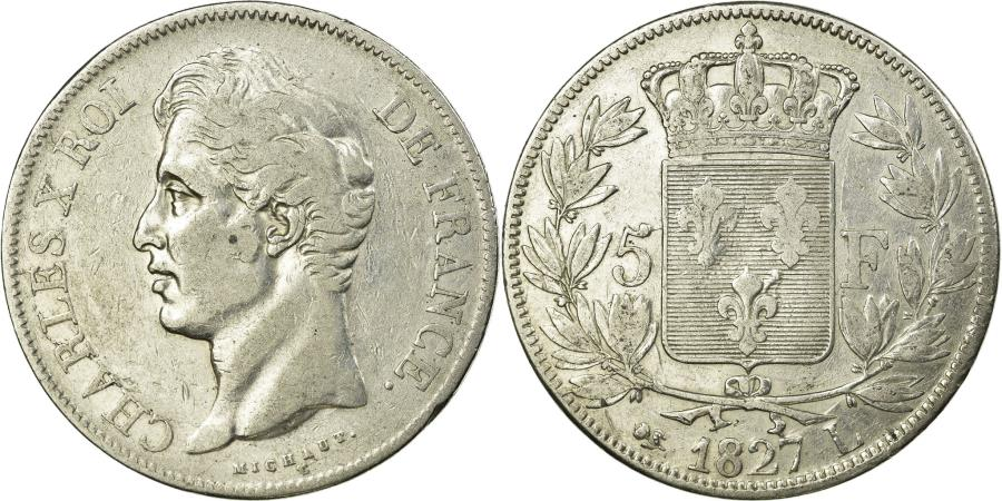 World Coins - Coin, France, Charles X, 5 Francs, 1827, Bayonne, , Silver, KM:728.8