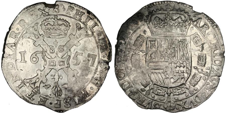 World Coins - SPANISH NETHERLANDS, Patagon, 1657, Brabant, KM #53.3, , Silver, 28.05
