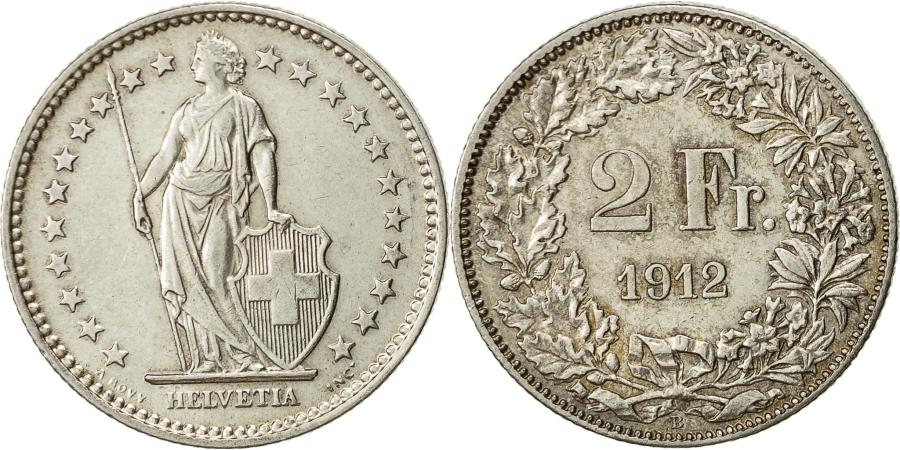World Coins - Switzerland, 2 Francs, 1912, Bern, AU(50-53), Silver, KM:21