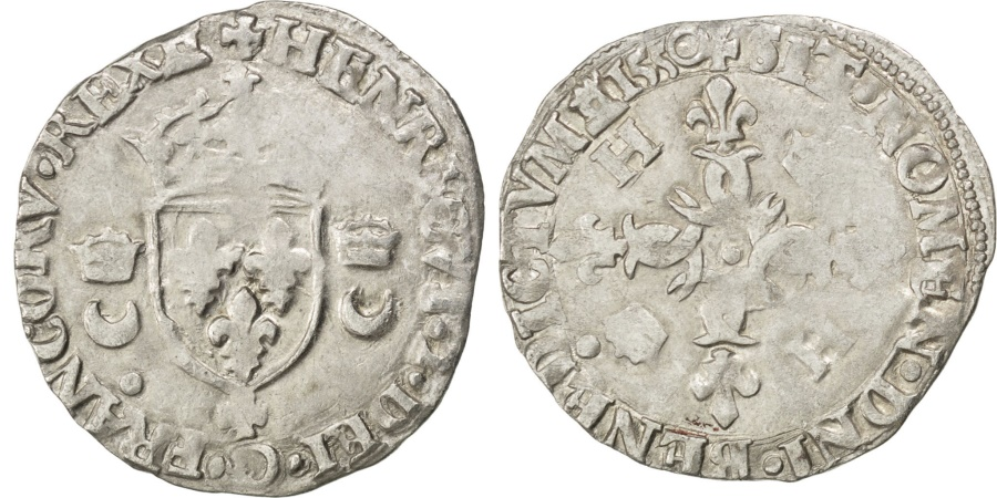 World Coins - FRANCE, Douzain, 1550, Caen, , Billon, Sombart #4380, 2.49