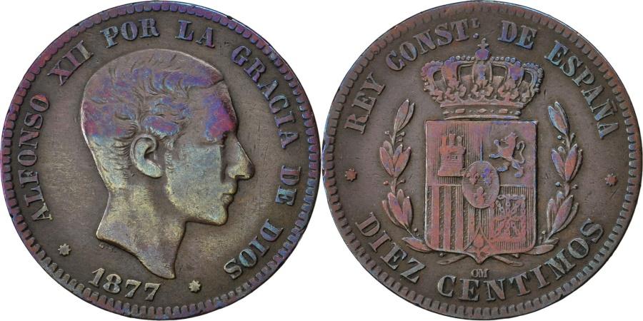 World Coins - SPAIN, 10 Centimos, 1877, KM #675, , Bronze, 9.74