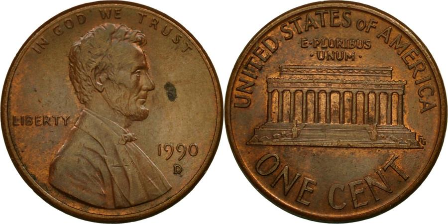 US Coins - Coin, United States, Lincoln Cent, Cent, 1990, U.S. Mint, Denver,