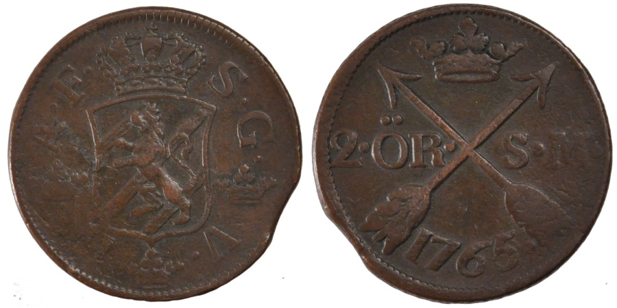 World Coins - SWEDEN, 2 Ore, S.M., 1765, KM #461, , Copper, 28.77