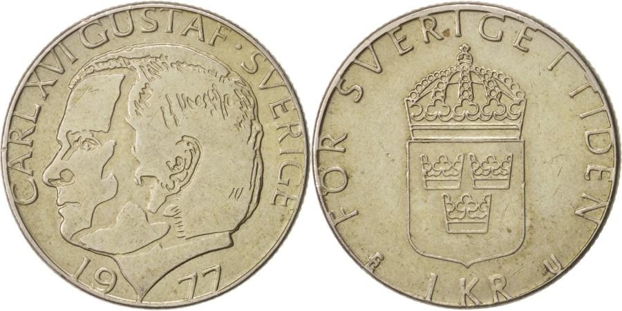 World Coins - Sweden, Carl XVI Gustaf, Krona, 1977, , Copper-Nickel Clad Copper, K...