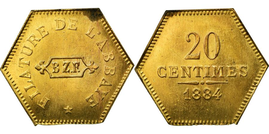 World Coins - Coin, France, 20 Centimes, 1884, MS(60-62), Brass