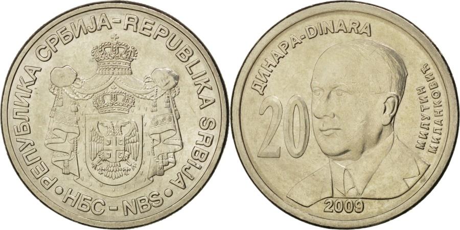World Coins - SERBIA, 20 Dinara, 2009, KM #52, , Copper-Nickel-Zinc, 28, 9.11