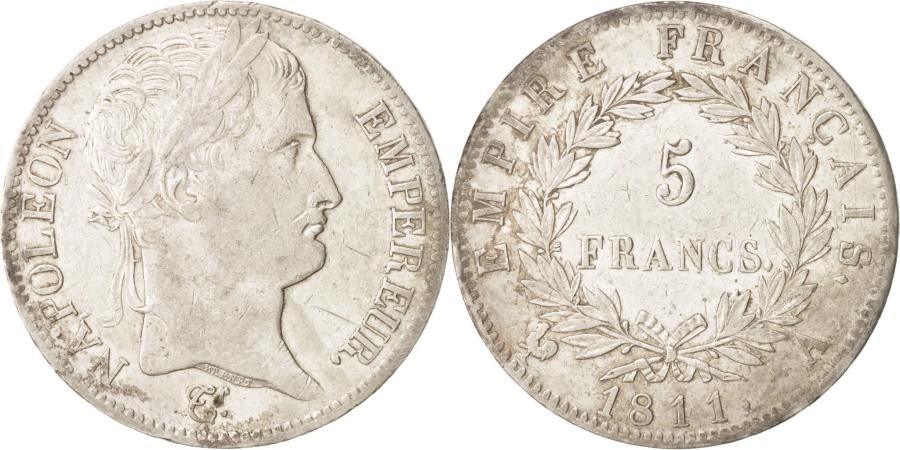 World Coins - France, Napoleon I, 5 Francs, 1811 A, Paris, Silver, KM:694.1