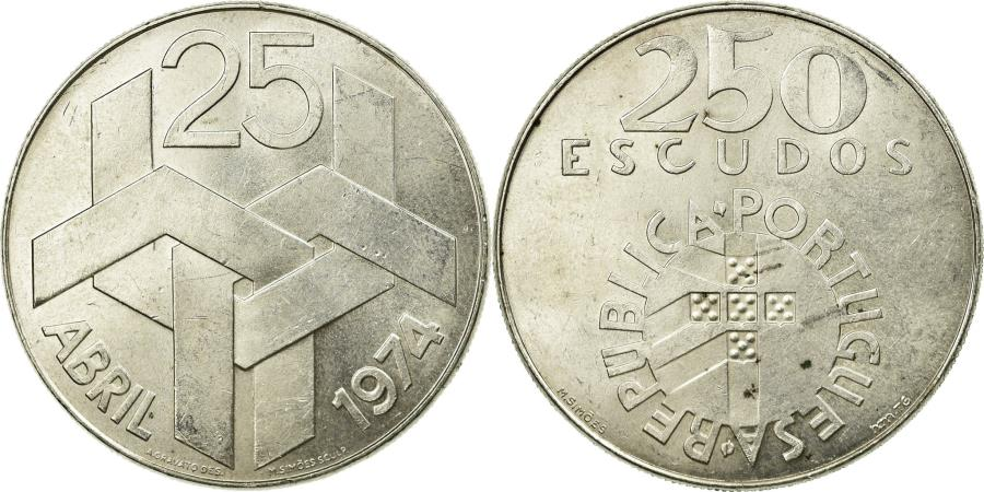 World Coins - Coin, Portugal, 250 Escudos, 1974, , Silver, KM:604