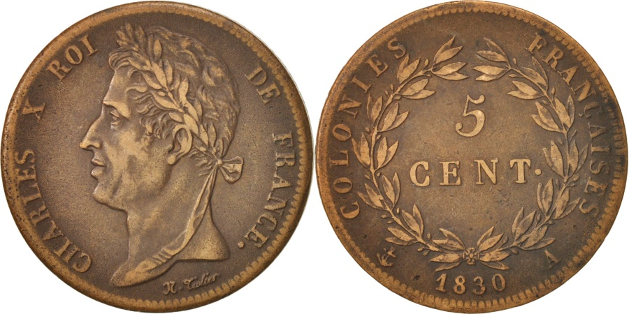 World Coins - FRENCH COLONIES, Charles X, 5 Centimes, 1830, Paris, , Bronze, KM:10.1